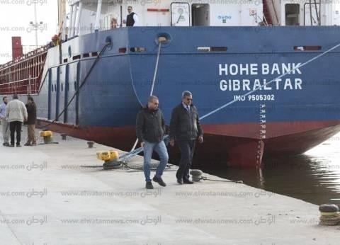 17 سفينة بالمخطاف الخارجي لميناء دمياط في انتظار إتمام إجراءات الدخول