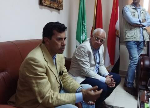 وزير الشباب يتفقد أعمال تطوير منشآت الحرية للمعاقين في بورسعيد