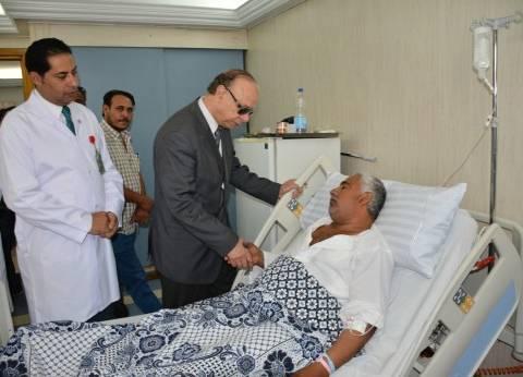 بالصور| محافظ القاهرة يزور مصابي حادث المنيا في معهد ناصر