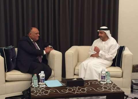 """""""شكري"""" يبحث مع عبد الله بن زايد """"أمن البحر الأحمر"""" وتطورات سد النهضة"""