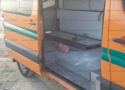 نجاة مسعف وسائق من حريق في سيارة إسعاف ببني سويف