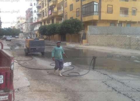 بالصور| تطهير شبكات صرف منطقة أرض المزادات في الإسماعيلية