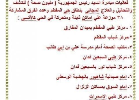 نائب محافظ القاهرة يطالب المواطنين بالمشاركة بمبادرة 100 مليون صحة