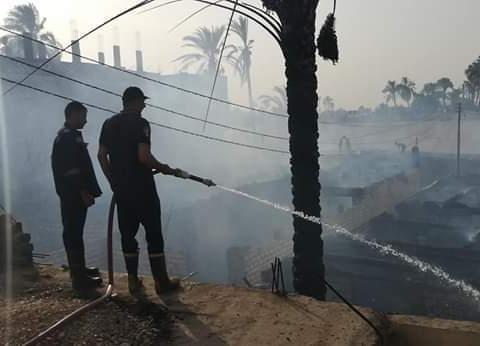 حريق هائل في 6 منازل و14 حوش ماشية بسوهاج