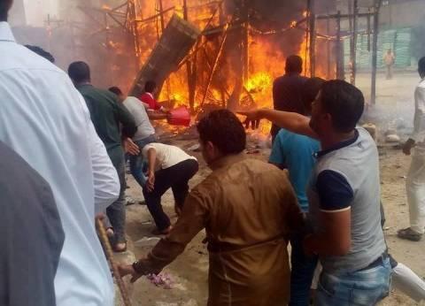 الأهالي يسيطرون على حريق بمحل لإصلاح الأجهزة الكهربائية بالفيوم