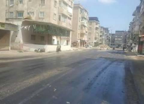 مديرية الطرق تبدأ أعمال الرصف بشوارع بالأعصر في دمياط
