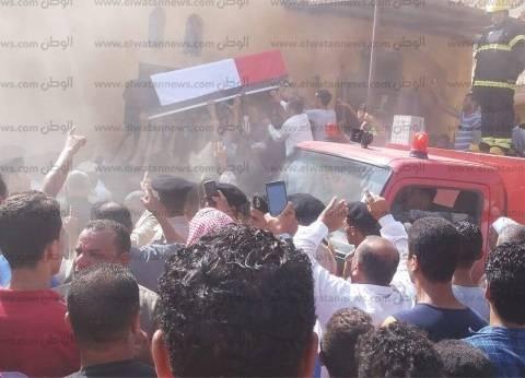 بالصور| وصول أحد شهداء العريش لمسقط رأسه بالحامول في كفر الشيخ