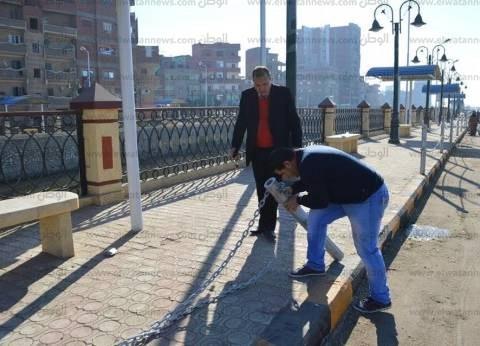 بالصور| مساعد محافظ كفر الشيخ يوجه بتركيب كاميرات مراقبة على كورنيش القنطرة