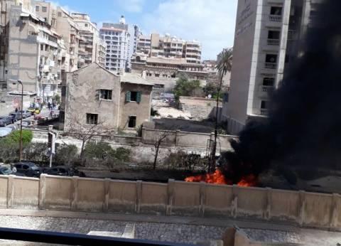 """شهود عيان: انفجار سيارة """"مركونة"""" في طريق المعسكر الروماني بالإسكندرية"""