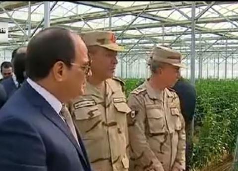 بالصور| الرئيس السيسي يتفقد مشروع الصوب الزراعية في العاشر من رمضان