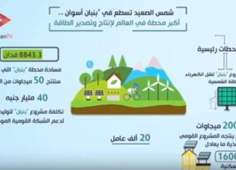 بالفيديو جراف.. تعرف على مشروع محطة بنبان للطاقة الشمسية في أسوان