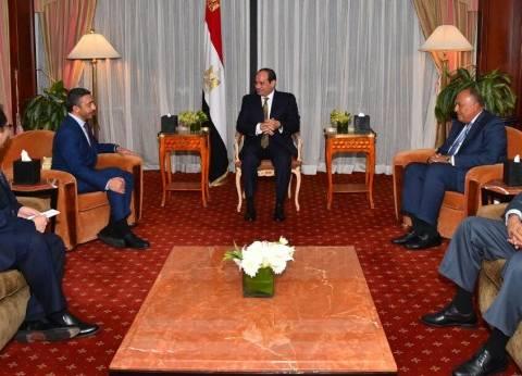 السيسي يستقبل وزير خارجية الإمارات بمقر إقامته في نيويورك