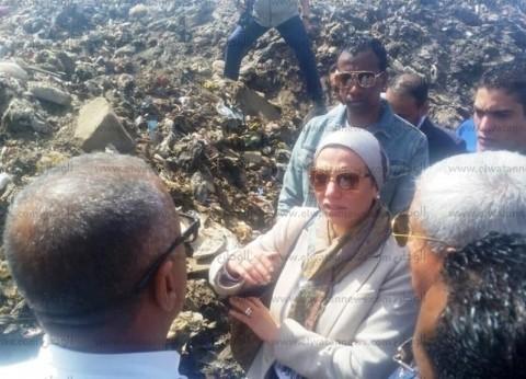 وزيرة البيئة تتفقد المحطة الوسطية لتجميع القمامة بأسوان
