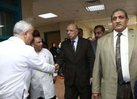 بالصور| محافظ القاهرة يزور مصابي العقار المنهار بمستشفى الشيخ زايد