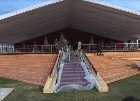 بالصور| ننشر استعدادات استاد الدفاع الجوي لاستقبال قداس بابا الفاتيكان