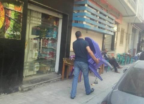 الجيزة: رفع الإشغالات بعدد من شوارع حي العجوزة للكافيتريات المخالفة