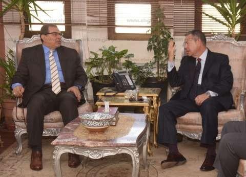 محافظ بني سويف يستقبل وزير القوى العاملة قبل افتتاح الملتقى التوظيفي