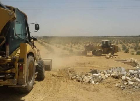 بالصور| إزالة 227 فدانا تعد على أملاك الدولة بمدينة طامية بالفيوم