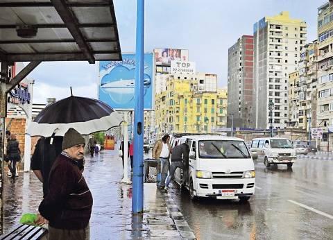 سقوط أمطار غزيرة على المناطق الشمالية ببني سويف