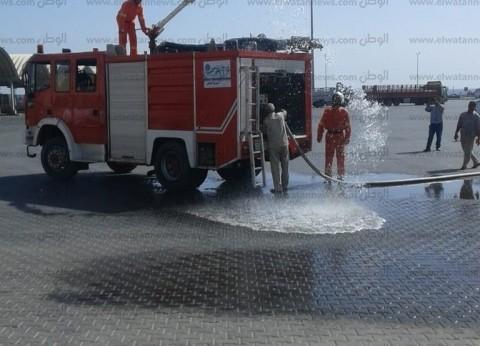 بالصور| تنفيذ مناورات حريق على المنشآت والشاحنات بميناء نويبع