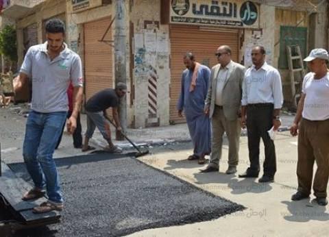 رئيس مدينة كفر الشيخ يتفقد أعمال التشجير برافد الطريق الدولي