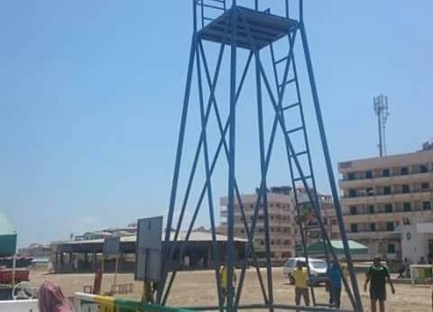 تأمين شواطئ رأس البر بمعدات بحرية وبرج إنقاذ مزود بكاميرا