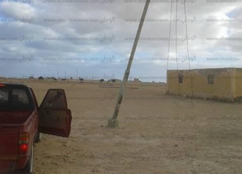 سقوط 5 أعمدة كهرباء بأبو حليقة بقرية جلال في مطروح