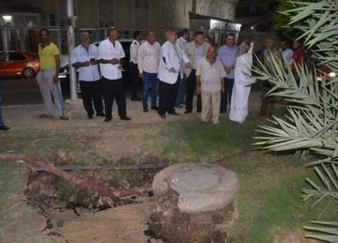 """""""مياه القناة"""": تكثيف أعمال علاج هبوط مناطق خط الصرف بالجزيرة الوسطى"""