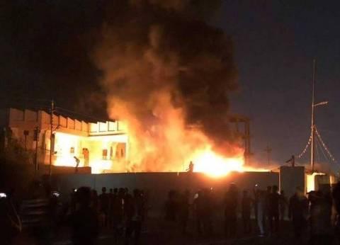 إحراق عدد من مقرات الأحزاب في محافظة البصرة العراقية