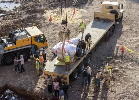 الفرعون يغادر ليلاً: «الوطن» ترافق تمثال الـ«9 أطنان» فى رحلته من سوق الخميس بالمطرية إلى المتحف المصرى بالتحرير
