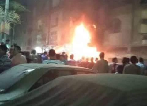 بالصور| السيطرة على حريق في شقة بكفر طهرمس بالطالبية