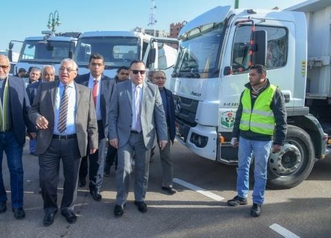 محافظ الإسكندرية يتفقد 115 معدة جديدة ستضاف لمنظومة النظافة