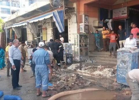 السيطرة على انفجار ماسورة مياه بشارع الإسكندرية بمطروح