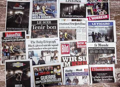"""""""ظلام في قلب أوروبا"""".. الصحف العالمية تتناول اعتداءات بروكسل الدامية"""