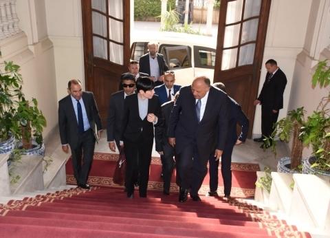 بالصور| سامح شكري يعقد مباحثات ثنائية مع وزيرة خارجية النرويج