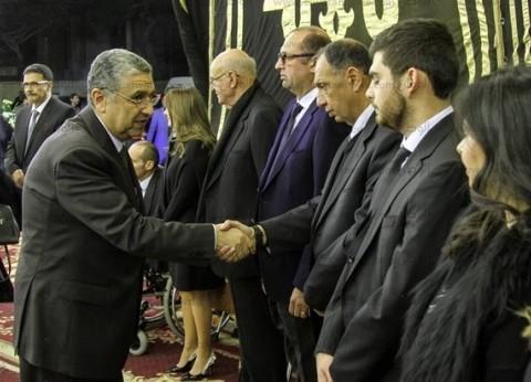 وزير الكهرباء والطاقة يحضر عزاء الراحل إبراهيم سعدة