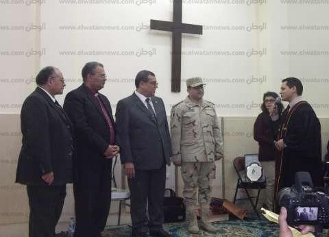 """محافظ الفيوم ورئيس الطائفة الإنجيلية يفتتحان كنيسة """"دار السلام"""" بعد تجديدها"""