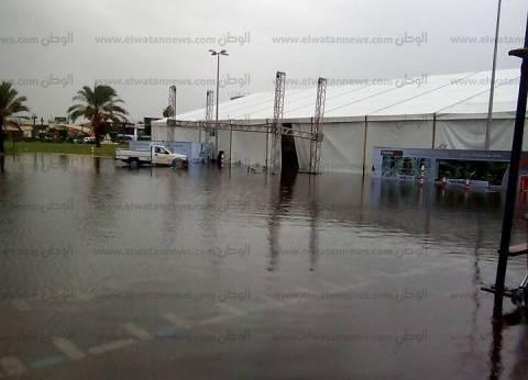 بالصور| مياه الأمطار تغرق المعرض العقاري في الإسكندرية
