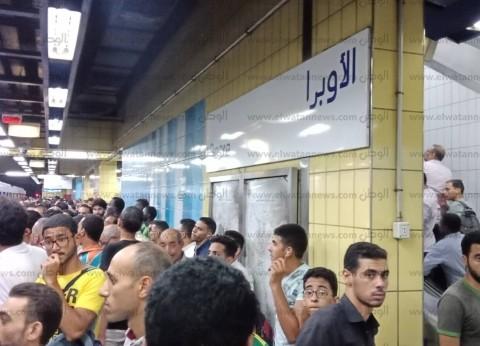 صور.. ازدحام في محطة الأوبرا بسبب عطل بالخط الثاني لمترو الأنفاق