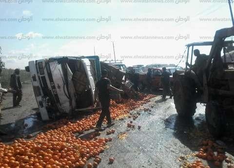 مصرع شخصين وإصابة 6 في حادث تصادم سيارتين على الطريق الزراعي ببنها