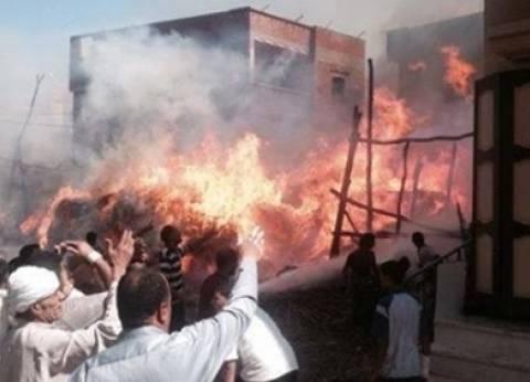 إخماد حريق شب داخل مخزن أخشاب في المنيا