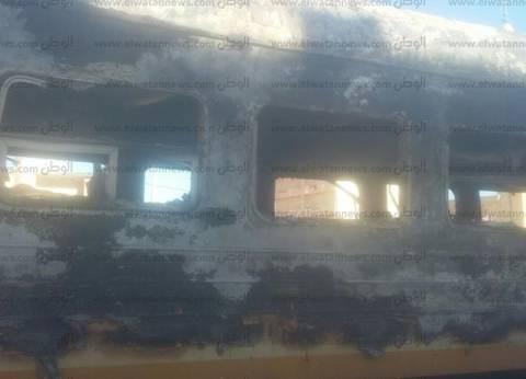 حريق هائل يلتهم 3 عربات قطار في محطة الحمام بمطروح