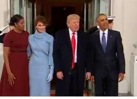 بالفيديو  أوباما يستقبل ترامب لاستكمال مراسم التنصيب
