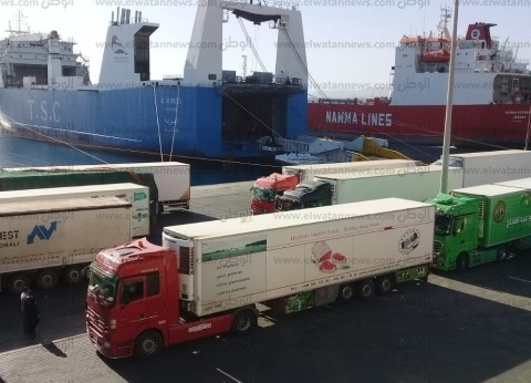 تداول 100 شاحنة بضائع و427 سيارة بموانئ البحر الأحمر