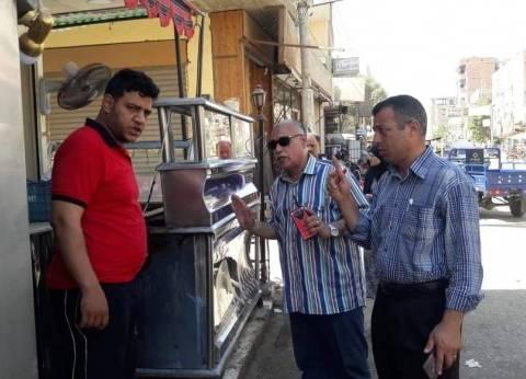 رفع الإشغالات بالشوارع والأحياء بمركز العدوة في المنيا