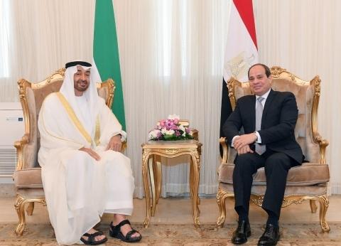 السيسي يجري جلسة مباحثات مع ولي عهد أبو ظبي
