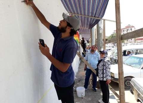 """""""محمد صلاح"""" جرافيتي على جدران محطة قطار بنها ضمن حملة """"حلوة بينا"""""""