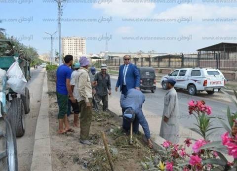 بالصور| مساعد محافظ كفر الشيخ يتفقد أعمال النظافة بطريق ناجي شتلة