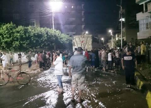"""انفجار خط المياه الرئيسي بـ""""بركة السبع"""".. ورئيس المدينة يوجه بالإصلاح"""