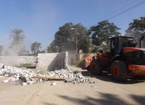 إزالة 22 حالة تعدي على الأراضي الزراعية بمنطقة منشأة العماري بالأقصر